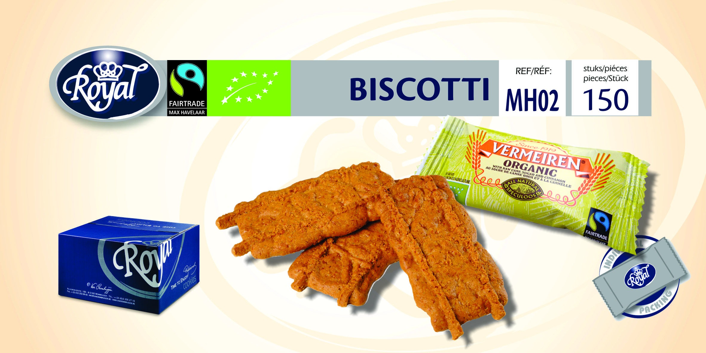 "Fairtrade speculoos ""Biscotti"" emb. ind. 150 pcs BE-BIO-01"